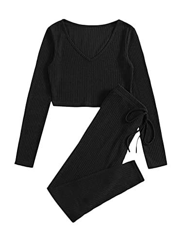 SheIn Set di 2 magliette e leggings da donna, maglia a maniche lunghe, pantaloni skinny, per la casa Nero M