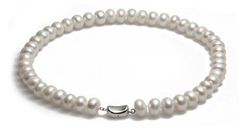 Schmuckwilli echte Perlen Süßwasserperlen Perlenkette weiß mit 925 sterling Silber Verschluß 45cm 10-11mm dsk4006-45