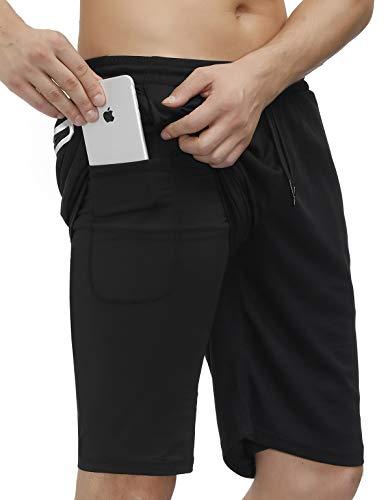 bonim Mens 2 in 1 Running Shorts Training Gym Quick Dry Workout Shorts with Pocket & Towel Loop Black Medium