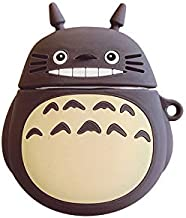 Ultra Thick Soft Silicone My Neighbor Totoro Case with Strap for Apple Airpods 1 2 Air Pods Wireless Earbuds Protective 3D Cartoon Grey Japanese Fun Cute Lovely Kawaii Gift Kids Teens Daughter Son