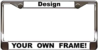 Custom Personalized Chrome Metal Car License Plate Frame with Free caps - White/Black
