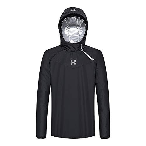 HOTSUIT Sauna Suit Men Weight Loss Gym Exercise Sweat Suits Workout Jacket, Black, XXL