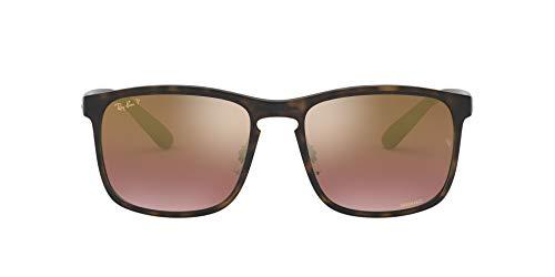 Ray-Ban Men's RB4264 Chromance Square Sunglasses, Matte Tortoise/Polarized Purple Mirror, 58 mm