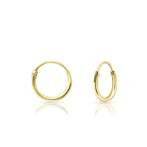 DTPsilver® Pendientes de Aro pequeños - Plata 925 Plateada en Oro Amarillo - Espesor 1.2 mm, Diámetro 10 mm
