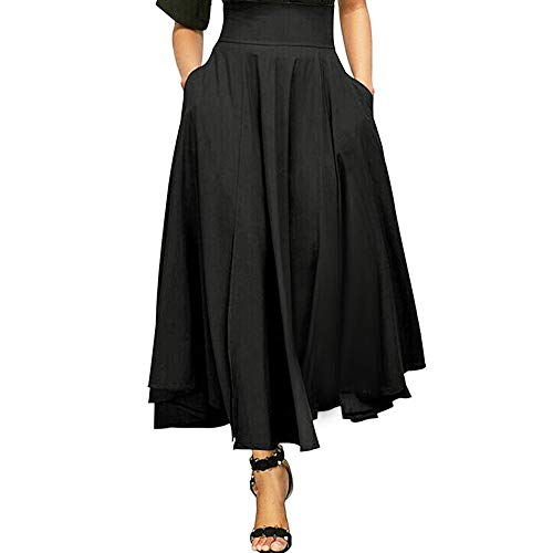 Topgrowth Gonna Lunga Vita Alta Elegante Vintage Maxi Gonna a Pieghe Spacco Gonna Retro Tasche Cintura Lunga Vestito da Donna (Nero, S)