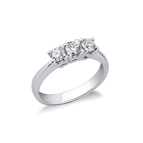 Gioielli di Valenza - Anello Trilogy in Oro bianco 18k con Diamanti ct. 0,60 - TR04060BB - 18