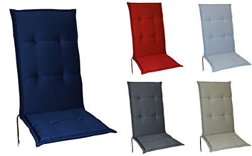 Schwar Textilien Gartenstuhlauflagen Stuhlauflagen Sitzauflagen Auflagen Hochlehner 5 Farben (Dunkelblau)