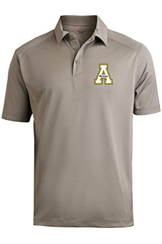 Appalachian State Mountaineers Men's Prime Athletic Logo Micro Pique Polo with Self Collar, Sport Gray 3XL