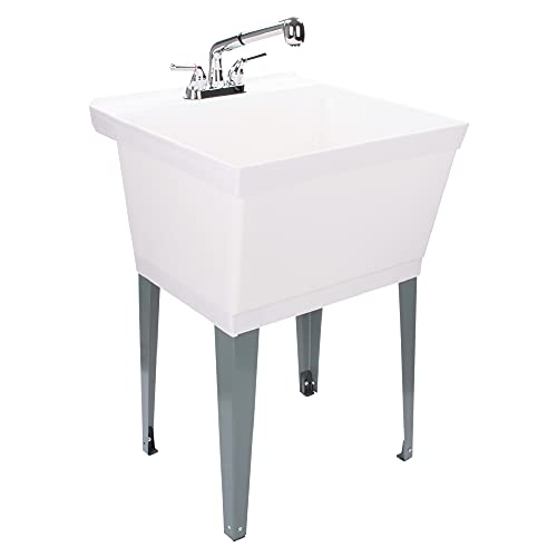 White Utility Sink Laundry Tub With Pull Out Chrome Faucet, Sprayer Spout, Heavy Duty Slop Sinks For Washing Room, Basement, Garage or Shop, Large Free Standing Wash Station Tubs and Drainage (White)