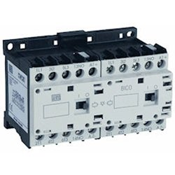 Contactor, Mini, Reversing, 12A, 4-Pole, 208-240VAC coil (60Hz only), 1-NC Contact