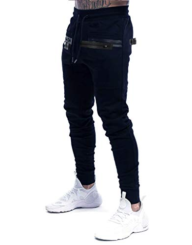 Yidarton Herren Jogginghose Sporthose Baumwolle Sweat Pants Trainingshose Jungen Slim Fit Freizeithose Joggers Streetwear (Navy blau, l)