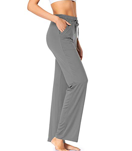 QEESMEI Womens Yoga Sweatpants Bootcut Loose Comfy Lounge Wide Leg Pants Workout Joggers Pants with Pockets,Grey Medium