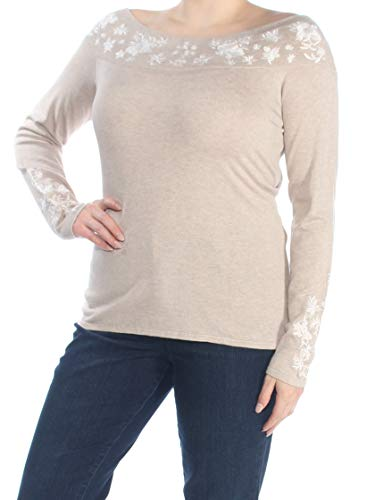 INC Womens Embroidered Long Sleeves Sweater Beige XL