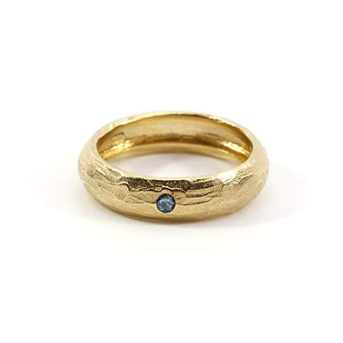 UNIC - Todra   Anillo Grueso con Zafiro Azul Incrustado - Plata de Ley 925 chapada en Oro de 18k   Joyeria Artesanal elaborada a Mano