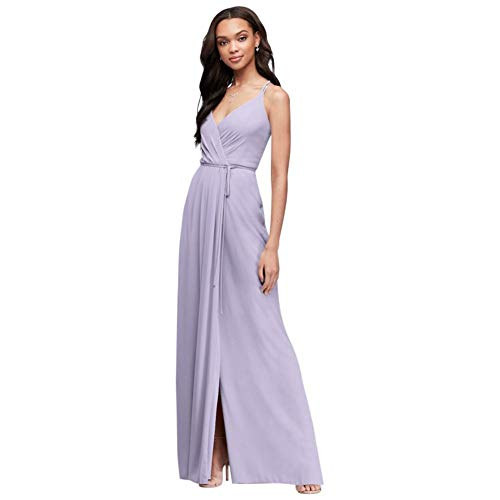 David's Bridal Double-Strap Long Georgette Bridesmaid Wrap Bridesmaid Dress Style F19755, Iris, 4