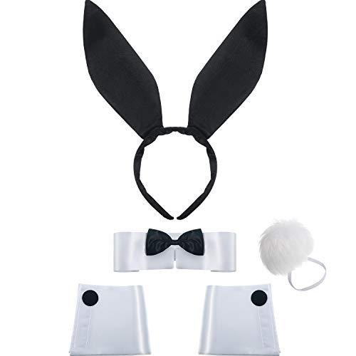 Frauen Hasen Accessoire Satz Kaninchenohr Stirnband Kragen Fliege Kostüm Manschetten Kaninchen Schwanz für Halloween Weihnachten Kostüm Cosplay Party