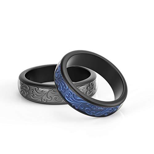 Iconfitness Siliconen trouwring, tweedelige rubberen ring met uniek 3D-bloemenpatroon, 6,5 mm breed, heren siliconenring voor reizen, werk en sport, set van 2 in metalen doos (blauw/grijs, maat 8)