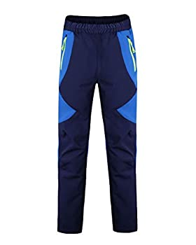 CAMLAKEE Pantalons de Randonnée Garçon Fille - Pantalon Softshell Enfant - Pantalon Coupe Vent Imperméable pour Escalade Trekking, Saphir, XL