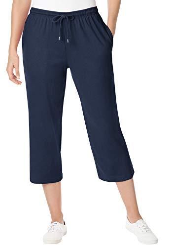 Woman Within Women's Plus Size Sport Knit Capri Pant - 2X, Navy