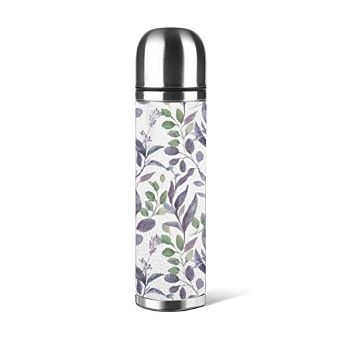 Art Fan-Design - Botella de agua de acero inoxidable con diseño de abanico, color morado y verde salvia, con aislamiento al vacío, de piel a prueba de fugas, doble pared, contenedor de viaje, termo de 500 ml