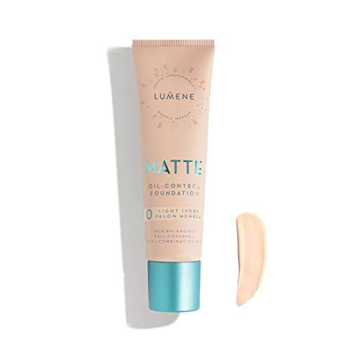 Lumene Matt Control Oil Free Foundation for Oily and Combination Skin Full Coverage with Arctic Cloudberry 30 ml / 1.0 Fl.Oz. (0 Light Ivory)