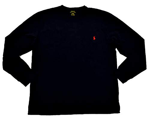 Polo Ralph Lauren Men's Crew Neck Long Sleeve Tee, Jet Black, Medium