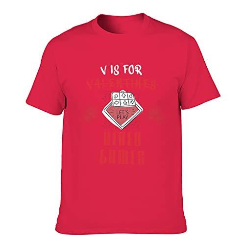 Camiseta de algodón para hombre en V es para San Valentín, para videojuegos, elasticidad, cuello redondo, camiseta para ocio