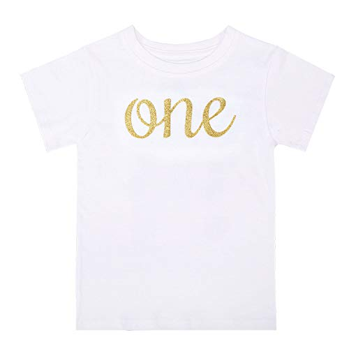 BKD Toddler Baby Boys Girls Birthday Shirts First Birthday Outfits Gold Baby Clothes Infant Baby 1st Birthday Outfits (This Many-One, 12-18M)