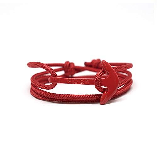 HOOK Pulsera Ancla Cadaqués Cordón Náutico Rojo Cierre Ancla de Acero Inoxidable para Hombre y Mujer - 1081 (Rojo)