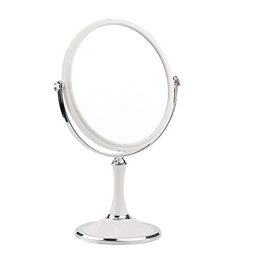 Miroir de maquillage LIHY- Grossissement de Dessus de Table, Rond de Salle de Bain - Desig pivotant à 360 degrés, sur Les Deux Faces et sans câble (Couleur : Blanc, Taille : 7 Pouces)