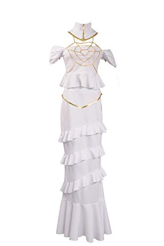 Overlord Albedo Hollow Out Layered White Dress Cosplay Costume (Large Female, White)
