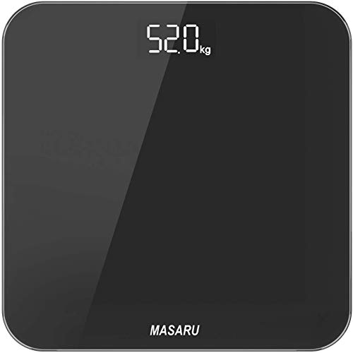 MASARU ヘルスメーター 体重計 デジタル 乗るだけ 電源自動ON/OFF バックライト付 180kgまで対応 高精度 ボディスケール ブラック(電池付属)