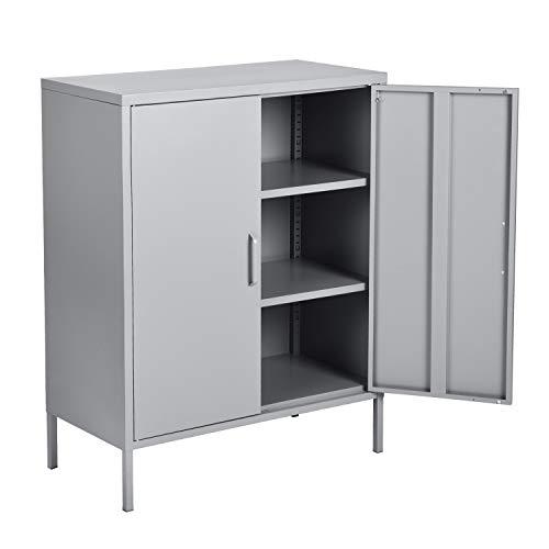 MEUBLE COSY Sideboard Kleiderschrank Wohnzimmer Aufbewahrungsschränke Garderobenschränke Metall Schrank mit Regal Ablage und Tür, Grau, 80x40x101.5 cm
