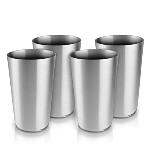Pratico Kitchen Smooth Edge Stainless Steel Cups, 14.5 oz, 4 Pack