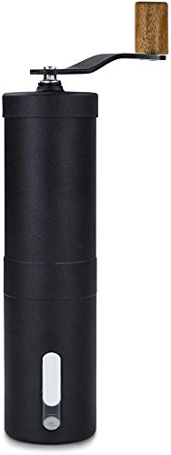 Lambda Coffee® Kaffeemühle manuell mit Keramikmahlwerk und Holz | Kaffeemühle Hand - Handkaffeemühle aus Edelstahl | Espressomühle | Präzise Mahlgradeinstellung stufenlos