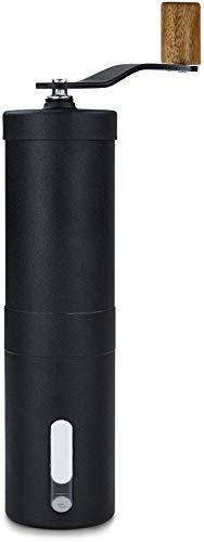 Lambda Coffee® Kaffeemühle manuell mit Keramikmahlwerk und Holz | Kaffeemühle Hand - Handkaffeemühle aus Edelstahl | Espressomühle | Präzise Mahlgradeinstellung stufenlos | manuelle Kaffeemühle