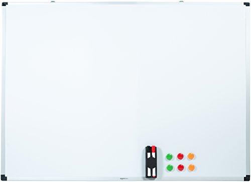 AmazonBasics - Pizarra blanca magnética con bandeja para rotuladores y marco de...