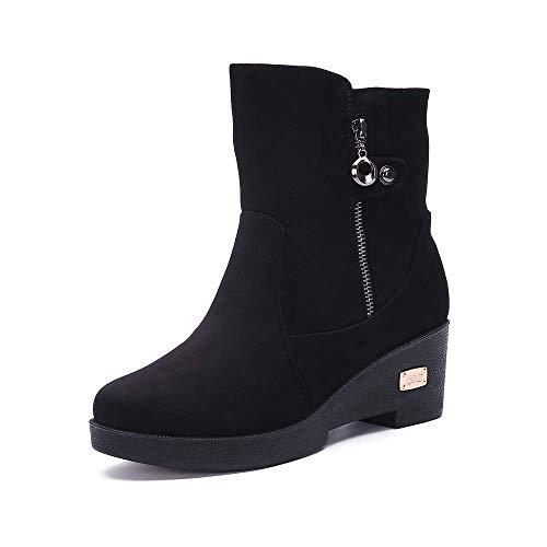 Botas de Nieve Zapatos para Invierno Mujer Piel Forradas Calientes Casual Calzado Antideslizante Botines Negro 39EU=40CN