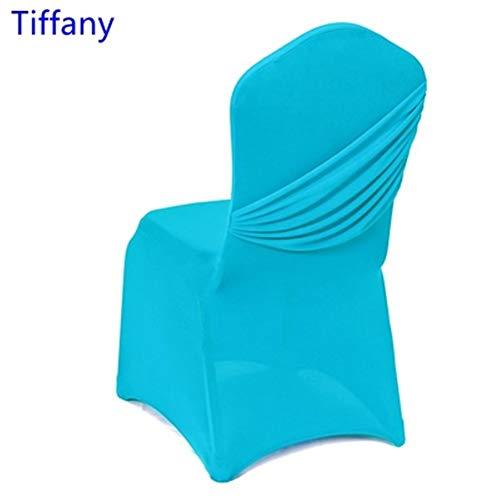 Stuhlüberzug 17 Farben Hochzeit Stuhlhussen Eine Quer Abdeckung Plissee Stuhl Hochzeit Dekoration (Color : Tiffany, Size : Fit All Chairs)