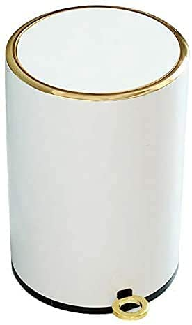 VISZC 10PCS Treteimer Weiß Schwarz, Anti-Rutsch Pedal, Inneneimer Mit Henkel, Bad Kosmetikeimer, Tretmülleimer, Edelstahl White-6L