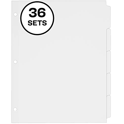 Avery 5-Tab Binder Dividers, Write-On Plain Tabs, 36 Sets (11506), White