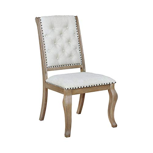 Glen Cove Dining Chairs with Button Tufting and Nailhead Trim Cream and Barley Brown (Set of 2)