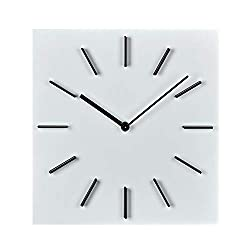 MOTINI Wall Clock, Quality Quartz Decorative Battery Operated Wood Wall Clocks, 12 Easy to Read Home/Office/Classroom Square Clock