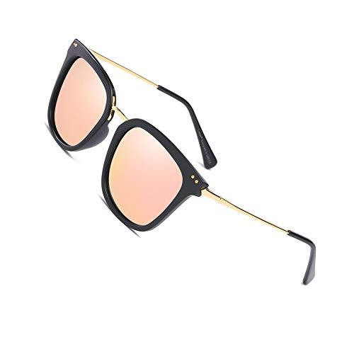 Cyxus Retro Gafas de Sol Mujer Polarizadas, Gafas de Sol para Mujer UV400 Protection - Stylo Ojos de Gato (Lens Rosa/Marco Negro)