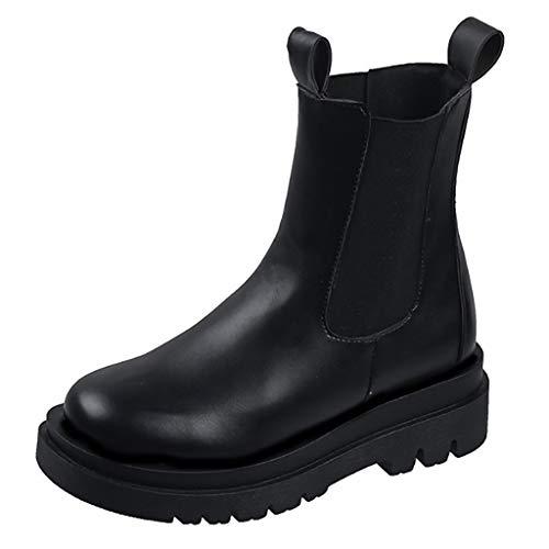 WggWy Botines con Plataforma para Mujer, Botas de Montar Informales de Moda Otoño e Invierno Zapatos Antideslizantes para Exteriores adecuados para Citas en la Calle Comercial,38