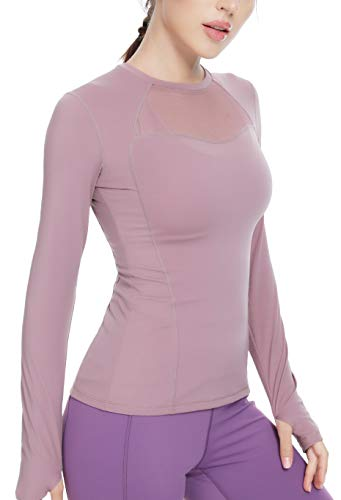 QUEENIEKE Mesh Sports Top Long Sleeve Running T-Shirts for Women Slim Fit Size M Color Dusty Lavender