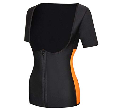 FFYHL Sexy Fitness Strumpfhose Sweat Sauna Set Tank Top, Ultra Sweat Neopren Body Shaper Trikot Kurzarm Zip Top,blackorange,XL