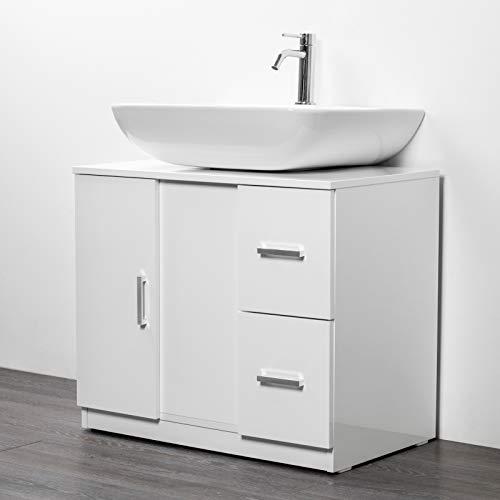 IdeaStella Odessa Sottocolonna 1 Anta + 2 Cassetti. Mobile Bagno sotto lavabo Copri Colonna lavandino Universale (Bianco Effetto Lucido)
