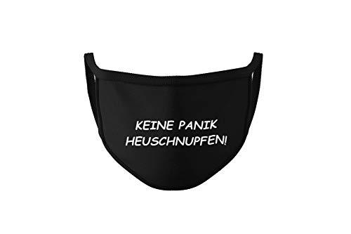 Dilara Baumwollmasken in Schwarz - Maske mit Sprüchen und Designs mit Aufdruck für Erwachsene, Damen und Herren aus Baumwolle (Keine Panik Heuschnupfen)