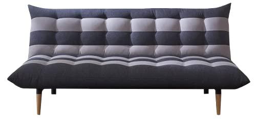 MUEBLIX.COM | Sofa Convertible en Cama Wing | Sofas de Salón Modernos | Asientos y Respaldo Espuma | Sofa Sistema de Abertura Clic Clac | Color Gris Claro y Oscuro